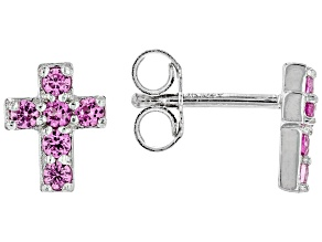 Pink Lab Created Sapphire Rhodium Over Sterling Silver Cross Earrings .31ctw