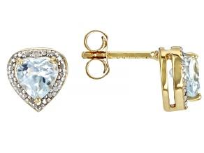 Sky Blue Topaz 18k Gold Over Sterling Silver Children's Birthstone Stud Earrings 1.11ctw