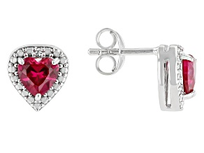 Red Lab Created Ruby Rhodium Over Sterling Silver Children's Birthstone Earrings 1.01ctw