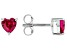 Red Lab Created Ruby Rhodium Over Sterling Silver Children's Birthstone Stud Earrings .68ctw