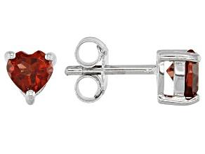 Red Garnet Rhodium Over Silver Children's Birthstone Earrings .61ctw