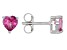 Pink Topaz Rhodium Over Sterling Silver Children's Earrings .56ctw