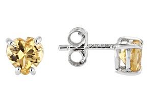 Yellow Citrine Rhodium Over Sterling Silver Children's Birthstone Stud Earrings .68ctw