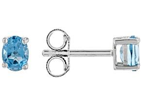Swiss Blue Topaz Rhodium Over Sterling Silver Birthstone Stud Earrings .37ctw