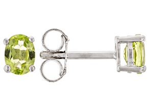 Green Peridot Rhodium Over Sterling Silver Children's Birthstone Stud Earrings .29ctw