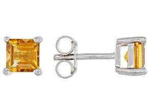 Golden Citrine Rhodium Over Silver Children's Birthstone Earrings .43ctw