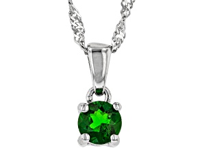 Green Chrome Diopside Rhodium Over Sterling Silver Children's Pendant with Chain .30ct