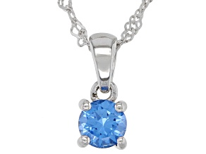 Blue Lab Created Spinel Rhodium Over Sterling Silver Children's Pendant with Chain .24ct