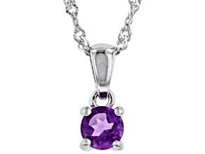 Purple Amethyst Rhodium Over Sterling Silver Children's Birthstone Pendant with Chain .21ct