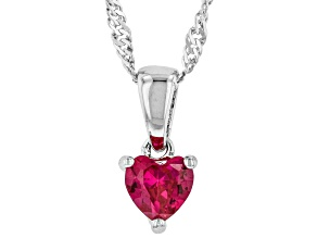 Red Lab Created Ruby Rhodium Over Sterling Silver Birthstone Pendant with Chain .34ct
