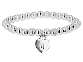 "White Zircon Rhodium Over Sterling Silver ""J"" Children's Bracelet .14ctw"