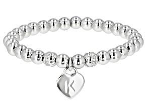 "White Zircon Rhodium Over Sterling Silver ""K"" Children's Bracelet .14ctw"