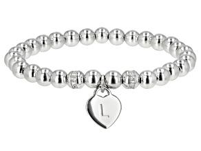 "White Zircon Rhodium Over Sterling Silver ""L"" Children's Bracelet .14ctw"