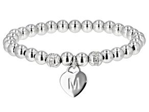 """White Zircon Rhodium Over Sterling Silver """"M"""" Children's Bracelet .14ctw"""