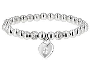 "White Zircon Rhodium Over Sterling Silver ""S"" Children's Bracelet .14ctw"