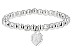 """White Zircon Rhodium Over Sterling Silver """"A"""" Children's Bracelet .14ctw"""