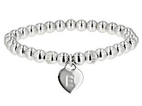 "White Zircon Rhodium Over Sterling Silver ""E"" Children's Bracelet .14ctw"