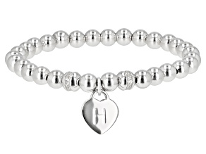 """White Zircon Rhodium Over Sterling Silver """"H"""" Children's Bracelet .14ctw"""