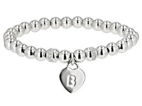 "White Zircon Rhodium Over Sterling Silver ""B"" Children's Bracelet .14ctw"