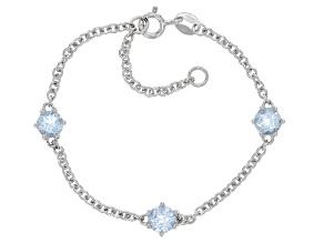 Sky Blue Topaz Rhodium Over Sterling Silver Children's Birthstone Bracelet 1.58ctw