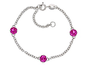 Pink Lab Created Sapphire Rhodium Over Sterling Silver Children's Bracelet 1.50ctw