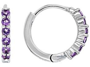 Purple African Amethyst Rhodium Over Sterling Silver Chilren's Birthstone Hoop Earrings .25ctw