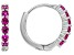 Red Lab Created Ruby Rhodium Over Sterling Silver Children's Birthstone Hoop Earrings .31ctw