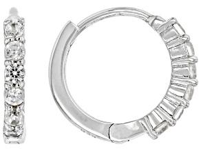 White Zircon Rhodium Over Sterling Silver Children's Birthstone Hoop Earrings .31ctw