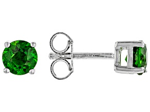Green Chrome Diopside Rhodium Over Sterling Silver Children's Stud Earrings .46ctw