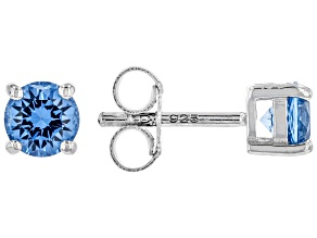 Blue Lab Created Spinel Rhodium Over Sterling Silver Children's Stud Earrings .48ctw