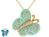 Multicolor Crystal Gold Tone Butterfly Pin/Pendant