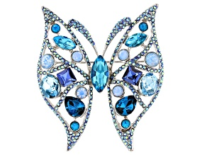 Blue Crystal, Silver Tone Butterfly Pin