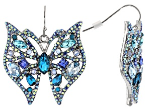 Blue Crystal, Silver Tone Butterfly Earrings