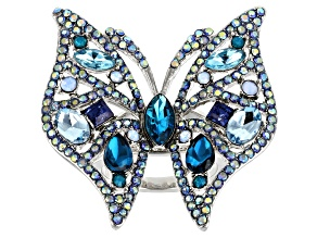 Blue Crystal, Silver Tone Butterfly Ring