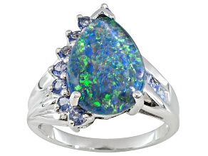 Opal Australian Triplet With Tanzanite Rhodium Over Sterling Silver Ring .53ctw