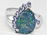 Opal Triplet With .53ctw Tanzanite Sterling Silver Ring
