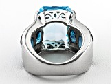 Sky Blue Topaz Rhodium Over Sterling Silver Ring 11.88ctw