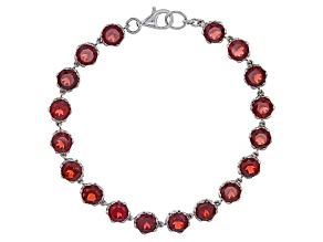 Red Garnet Round Rhodium Over Sterling Silver Tennis Bracelet 16.20ctw