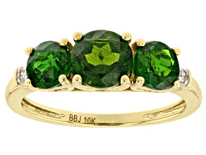 Green Chrome Diopside White Diamond 10k Yellow Gold 3-Stone Ring  2.02ctw