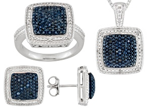Womens Square Blue White Diamond Sterling Silver Ring Earrings Necklace Set