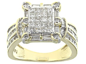 White Diamond Ring 10k Yellow Gold 1.25ctw