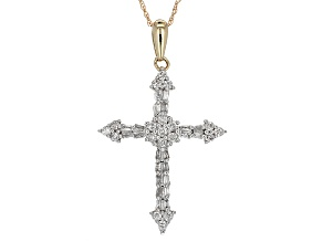 Diamond Cross Pendant 10k Yellow Gold .50ctw.