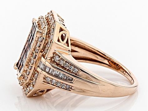 Red And White Diamond Ring 10k Rose Gold 1.50ctw
