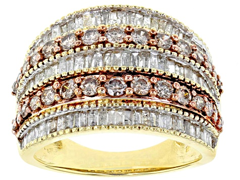 Champagne And White Diamond Ring 10k Yellow Gold 2.00ctw