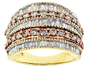 Brown And White Diamond Ring10k Yellow Gold 2.00ctw