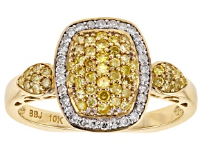 Yellow And White Diamond Ring 10k Yellow Gold .53ctw