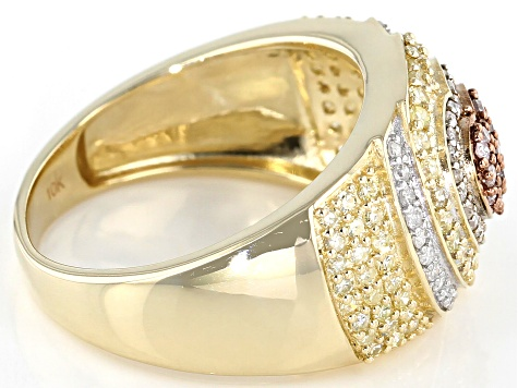 Yellow, Pink And White Diamond Ring 10k Yellow Gold .85ctw
