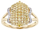 Yellow And White Diamond Ring 10k Yellow Gold .74ctw