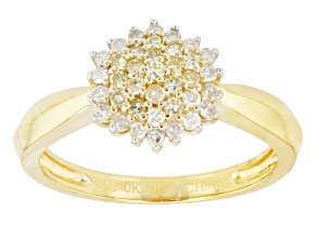 Natural Yellow And White Diamond Ring 10k Yellow Gold .33ctw