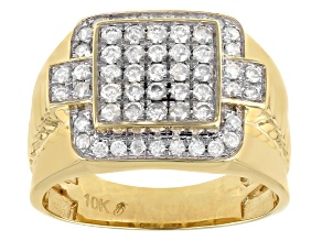 Diamond 10k Yellow Gold Mens Ring 1.00ctw